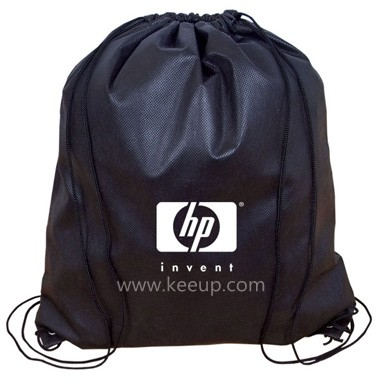 14.75? W x 17? H ? 90 Gram Non Woven Polypropylene including 25% recycled content ? Double cords that act as drawstring closure and straps ? Reinforced bottom corners around grommets ? Debco?s lowest priced drawstring knapsack