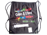 Sublimation printed 210D polyester drawstring gym backpack bag