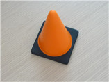 Orange triangle industrial roadblock with base anti-stress reliever for promotion giveaway