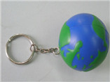 2016 promotional pu blue globe keychain toys for ad
