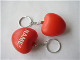 custom heart PU stress ball keychains