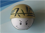 custom happy face hard hat stress ball