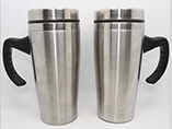 Double stainless steel mug with laser logo for gift