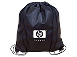 Customzied size black promotional drawstring bag