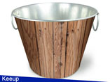 8QT Bucket With Wood Grain Coating
