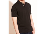 Printed Black Cotton Polo Shirt