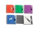 Hard cover spiral note book with pen