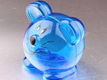 Mouse Blue Clear Plastic Coin Bank