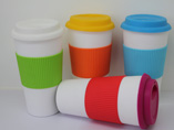 Eco-friednly Ceramic Coffee Mug With Silicone Lid