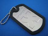 Aluminum Dog Tag With Rubber Edge And Keychain