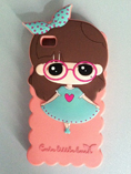 Lovely Girl Cartoon Design Silicone Iphone 4/4s Cov