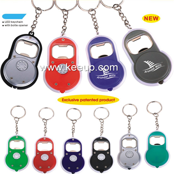 Plastic LED keychain with bottle opener