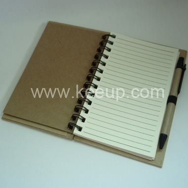 Promotional Kraft Paper Cover Double Spiral Notebook With Pen