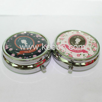 Promotional Round Metal Pill Box With Doming Logo