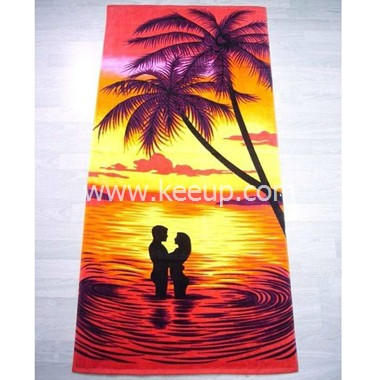 Promotional velour reactive printed beach towel