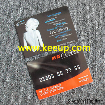Credit card style plastic ice scraper with full color logo