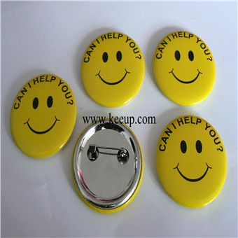 Custom pin badge with smile face
