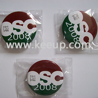Customized Tin button badge with safety pin