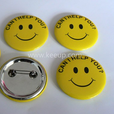 Smiling Face Tin Badge