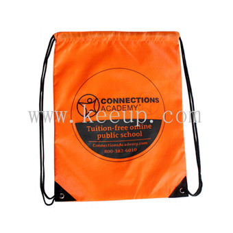 Customize orange color Beam mouth bag with logo branding