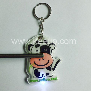 Cow Shape PVC LED Keychain For Promotion