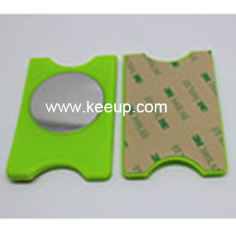 Wholesale promotion gift silicone cellphone card holder with mirror