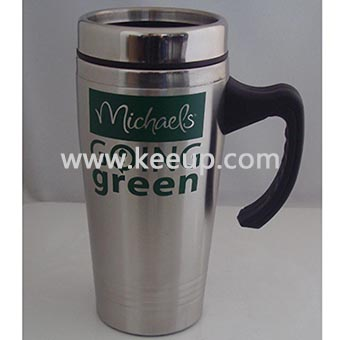 Customized logo printing stainless steel mug with handle