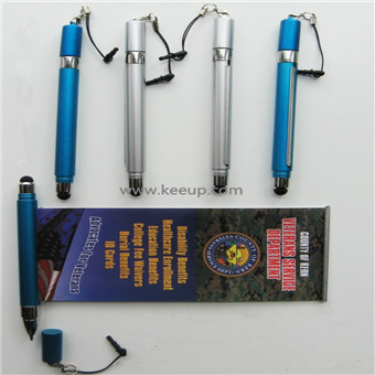 Multipurpose promotional ballpoint pen with roll out paper
