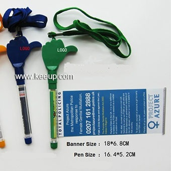 advertising gifts plastic banner pen with string for promotion
