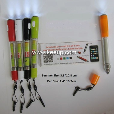 New Style promotional banner ball pen with LED light