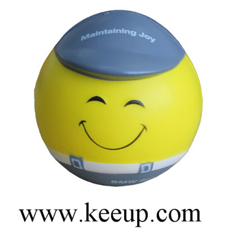 PU stress ball toys with hard hat for children&adult stress reliever