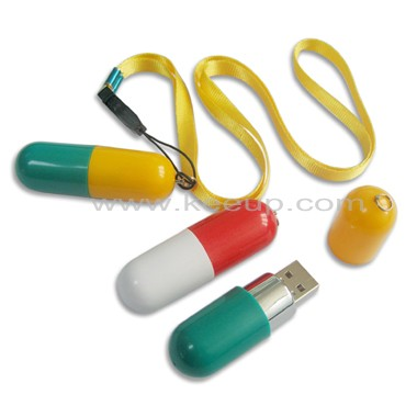 Pill USB flash drive with lanyard