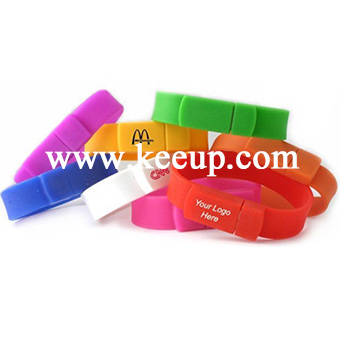 Promotional high quality usb wristband with custom logo printing